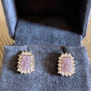 Anthropologie mauve/gray druzy stud earrings